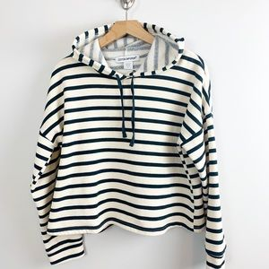 COTTON EMPORIUM striped cropped hoodie EUC